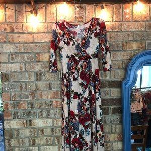 Taupe Vintage Floral Pregnancy/ Nursing Maxi Dress